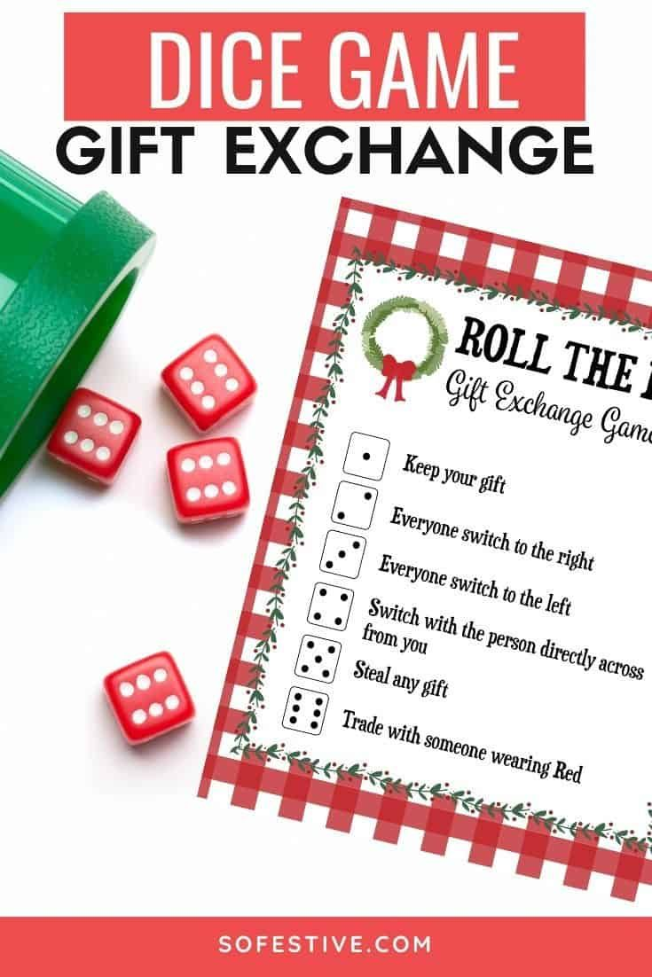 Roll The Dice Christmas Gift Exchange Game : christmas, exchange, Exchange, Printable, SoFestive.com, Christmas, Games,, Exchange,, Games