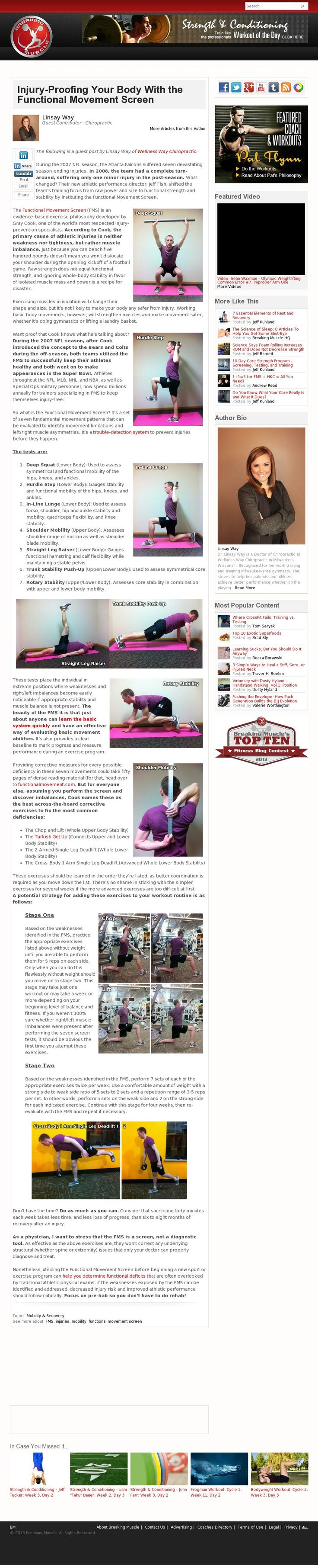 The website 'http://breakingmuscle.com/mobility-recovery/injury-proofing-your-body-functional-movement-screen' courtesy of @Pinstamatic (http://pinstamatic.com)