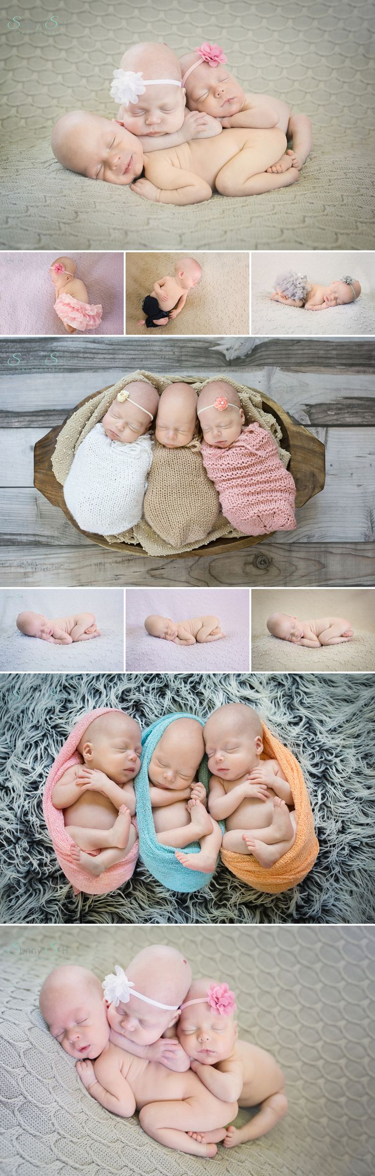 newborn triplet photography.  In home baby photo session with 2 month old boy and identical girl triplets