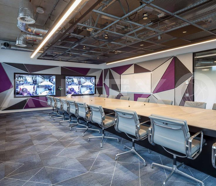 Autex Interior Acoustics - 50mm Quietspace® Panel wrapped in Vertiface® - Colours: Phantom, Silver & Myst - Adobe Head Office, London, UK - Direct fixed to wall