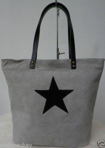 Shopper-Wildleder-Handtasche-Stern-schwarz-XL-Bag-Ledertasche-grau-Italy-NEU