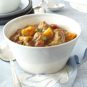 Pumpkin Harvest Beef Stew Recipe from Taste of Home -- shared by Marcia O'Neil of Cedar Crest, New Mexico