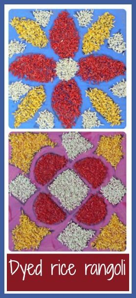 How to make dyed rice rangoli for Diwali with young children