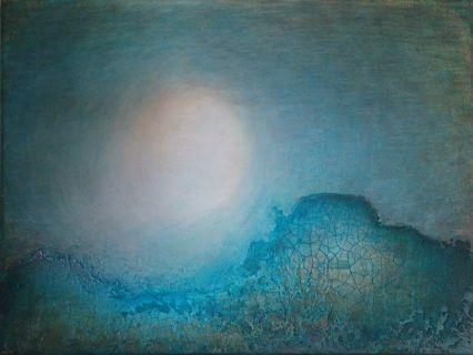 """""""Lyskilden"""" Akryl på lerret m/ krakkelering - 30 x 40 cm"""