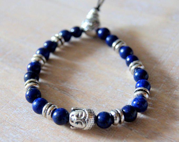 Armband Stil Buddha-Kopf und natürliche Perlen aus Lapislazuli mala