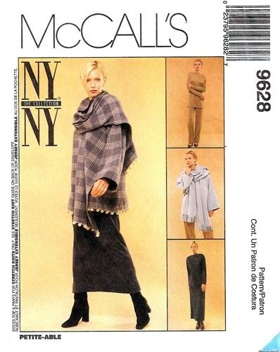 McCall's 9628 Jacket with Attached Scarf, Dress, Top & Pants 1998