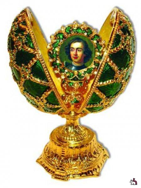 Egg by Faberge. Painting of the Czar. With gold and emeralds.
