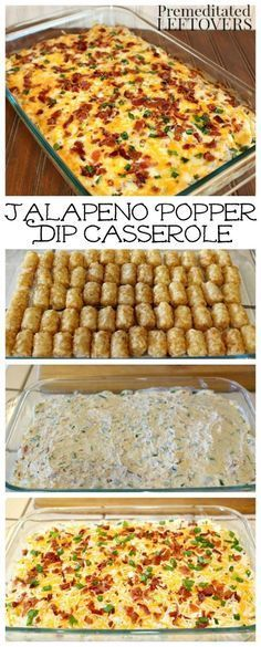 Jalapeno popper casserole recipe made with jalapenos, cream cheese, bacon, tater tots, and cheese