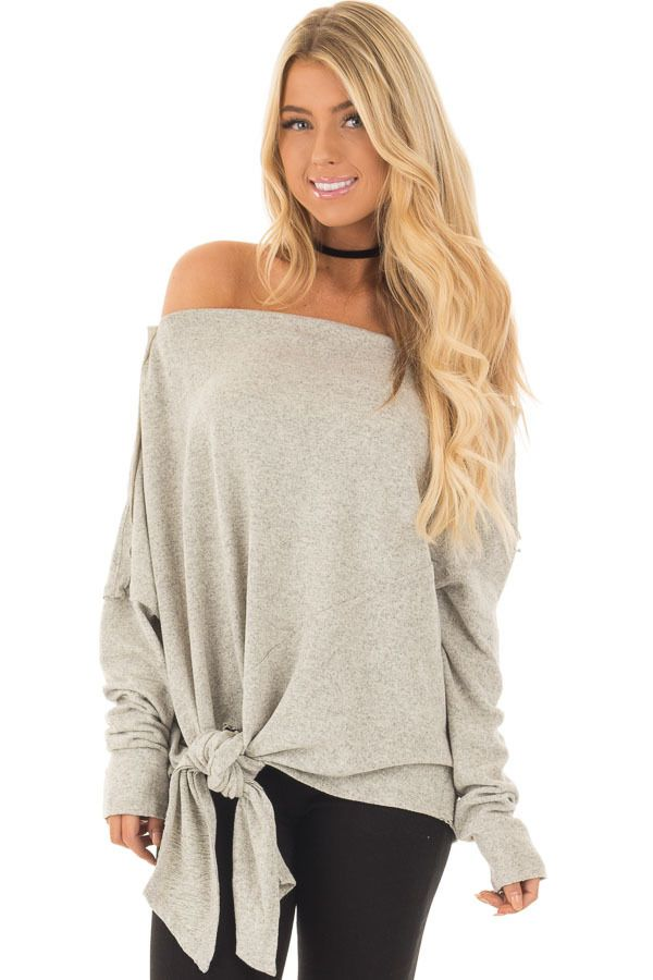 4424a66355e Light Grey Two Tone Off the Shoulder Sweater with Tie Detail front close up