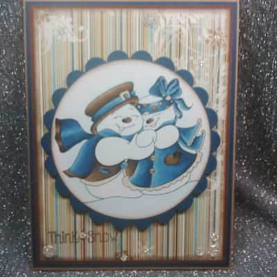 """ONECRAZYSTAMPER.COM: Snow Couple by Shari using High Hopes """"Stamps Snowy Couple"""" (TT016)"""