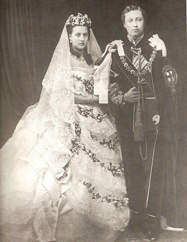 Wedding of Queen Victoria and Prince Albert, who had an idyllic marriage, but he died at age 42, and she dressed in mourning clothes for the rest of her life.
