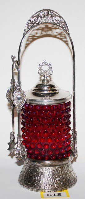 VICTORIAN SILVERPLATE PICKLE CASTOR WITH HOBNAIL CRANBERRY GLASS INSERT, FRAME WITH EMBOSSED BASE