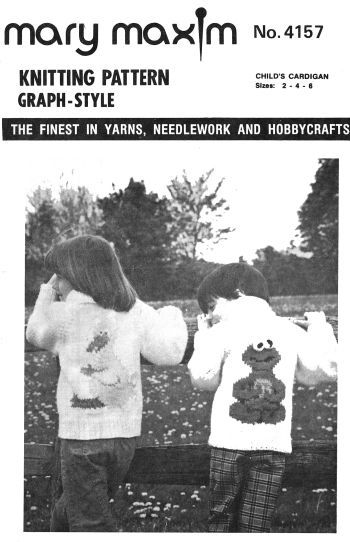 mary maxim 4157, for childs sizes 2 to 6, big bird sweater, reproduced pattern. NOT COOKIE MONSTER!!