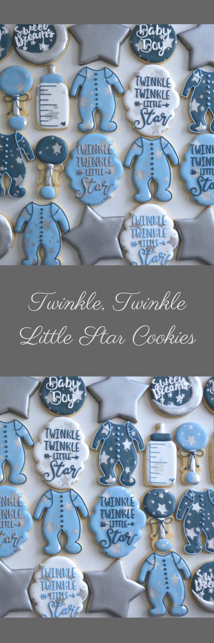 Two Dozen Twinkle, Twinkle Little Star Sugar Cookies Baby Shower Sugar Cookies #affiliate