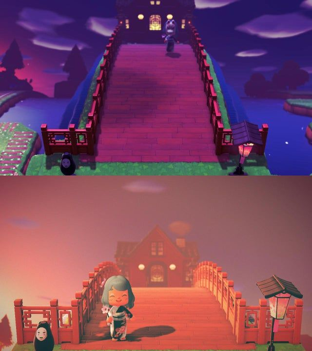 Spirited Away Bathhouse Entrance Night And Day Animalcrossing In 2020 Animal Crossing Funny Animal Crossing Animal Crossing Guide