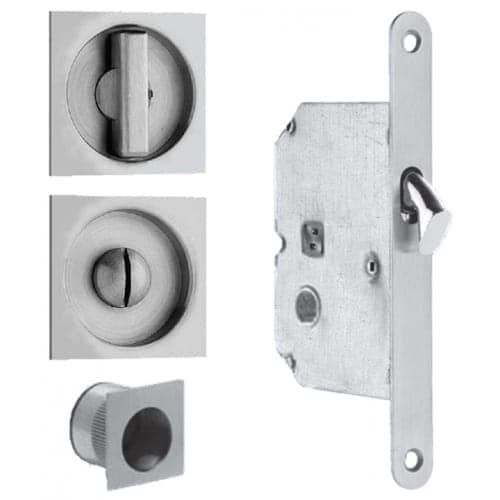Omnia 3911 Mortise Lock for 1-3/4 Wooden Pocket Doors (Stainless Steel (Silver) Finish)