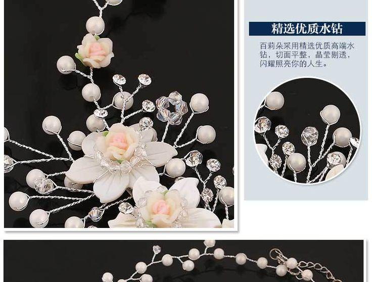 _ Невеста головной убор невесты ручной работы глины головы Hanamori корейских женщин цветочные аксессуары для волос свадебные ожерелье свадебные аксессуары - Alibaba