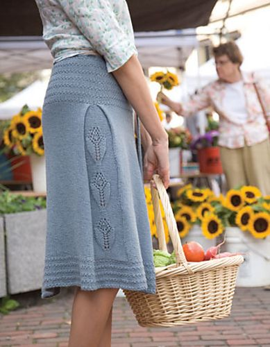 Knitted skirt - this skirt is super elegant.  I can't find the pattern but it looks a bit too advanced for me anyway.  Ravelry.
