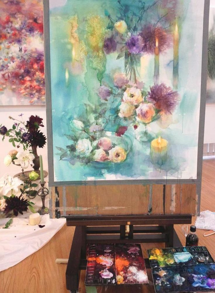 Yuko Nagayama's home and studio, #watercolor #flowers #painting #artiststudio