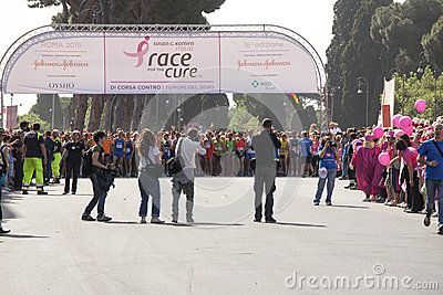 Race for the cure 2015, Rome. Italy. Susan G. Komen association. Race against breast cancer. 70,000 participants at the event. Starting Line