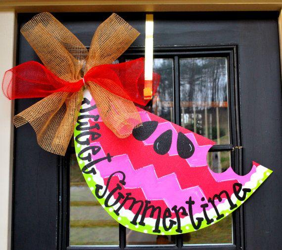Summer Door Hanger, Chevron Door Decor Watermelon Welcome Sign, Summer Door Decoration, Summer Wreath. $45.00, via Etsy.