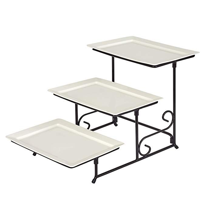 3 Tier Rectangular Porcelain Serving Platters With Strong And Sturdy Swivel Metal Rack Food Display White R Ceramic Platters Metal Rack Tiered Serving Trays