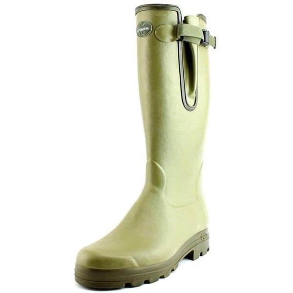 Le Chameau Le Chameau Vierzon Cuir Round Toe Synthetic Rain Boot ($317) ❤ liked on Polyvore featuring men's fashion, men's shoes, men's boots, green, shoes, mens wellington rubber boots, mens round toe cowboy boots, mens green shoes, mens rubber shoes and mens rubber rain boots