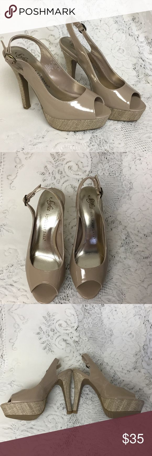 """Sofia Vergara taupe peep toe pump Sofia Vergara's taupe pumps are just what you need!  Chic and versatile, these shoes are one of a kind in classy cork and taupe.  They make your legs look long and sexy!  1 1/2"""" height at toe, 5"""" at back of heel. Sofia Vergara Shoes Heels"""