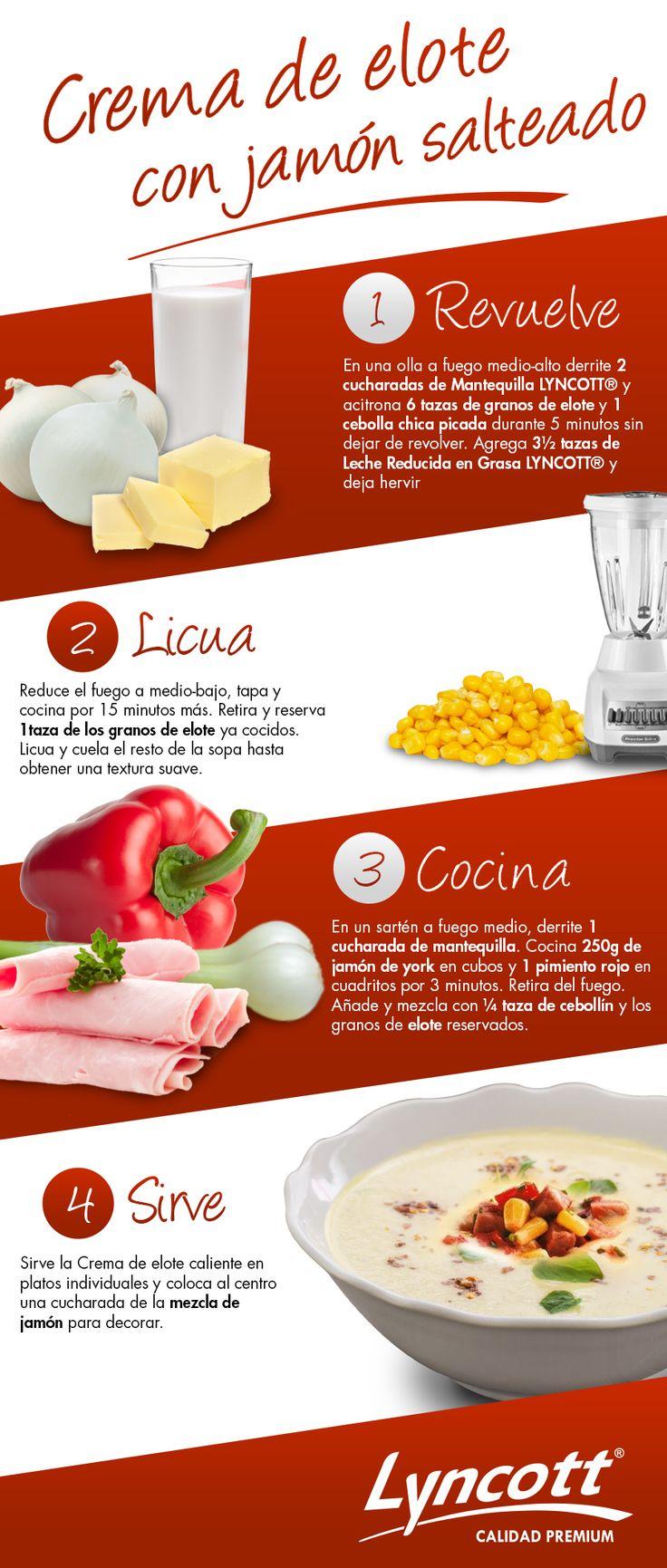Crema de elote con jamón salteado #RecetaFácil #Lyncott #Saludable…