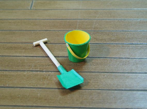 Beach Bucket and Spade in Green and Yellow  by TinytownMiniatures