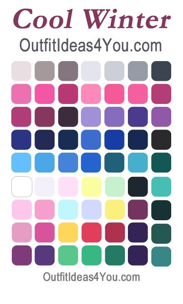 Your cool winter color palette. Not sure if you're a cool winter? Visit http://OutfitIdeas4You.com for your FREE personal seasonal color analysis.