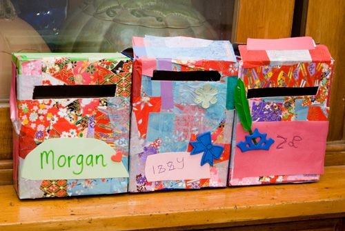 make your own personal mail box then write letters to each other! postbode