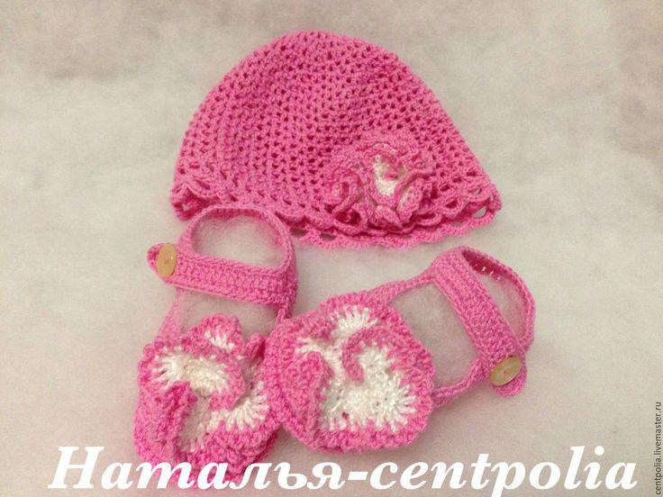 Купить Комплект пинетки и шапочка - розовый, однотонный, пинетки, шапочка летняя, панамка для девочки