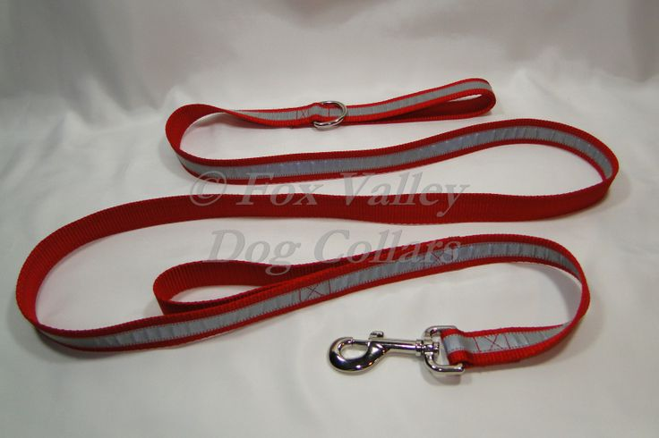 """1"""" X 6' nylon custom reflective leash includes a traffic handle for more control in crowded places and a D-ring to clip on dog tags, waste bags or collapsible cup! Made with authentic Scotchlite 3M reflective material and right here in the USA!  Available in seven colors!  $27.00"""