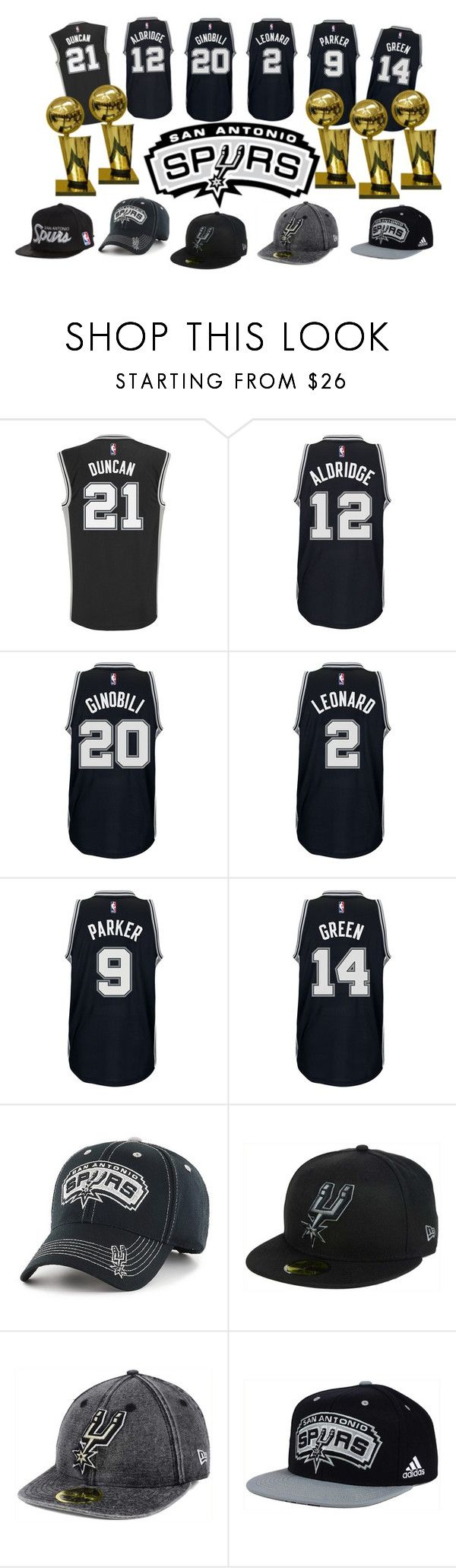 """San Antonio Spurs Basketball"" by fivefoot1designs ❤ liked on Polyvore featuring adidas, JUST DON, New Era, SpursNation, GOSpursGO and sanantoniospurs"