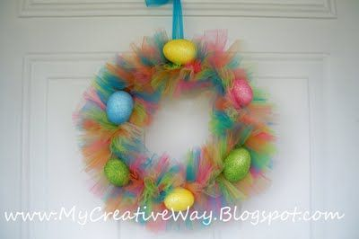 Tutu Wreath with instructions, doesn't have to be Easter - easiest way -wires, tulle, wire cutters, scissors and decor for occassion
