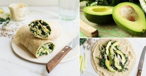 Wraps proteicos de aguacate, col rizada y hummus