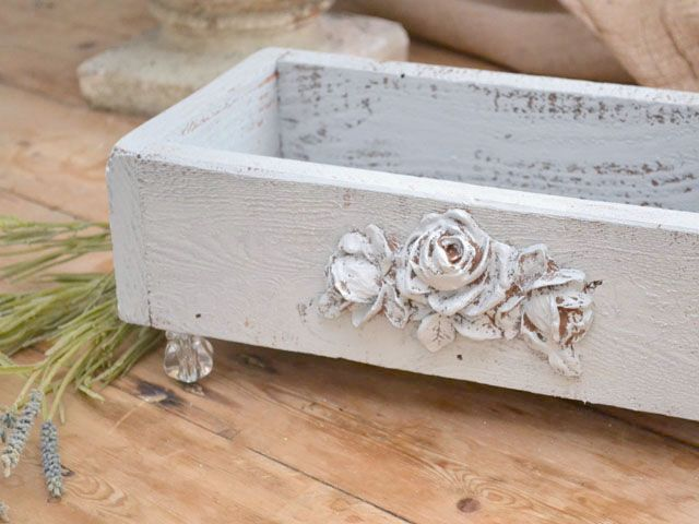 make from old box add wood decal & glass knob legs