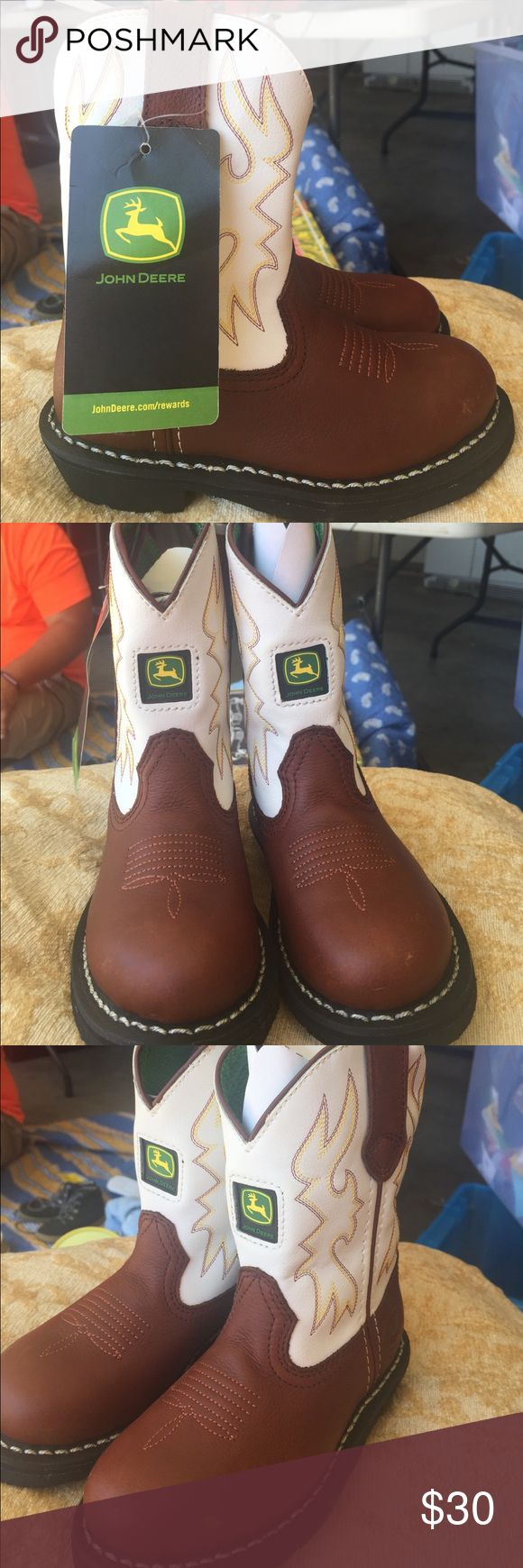 John Deere Kid's Cowboy Boots NWT - Dark Brown & White Pull-On Cowboy Boots. A couple of minor blemishes (see pictures). No box. John Deere Shoes Boots