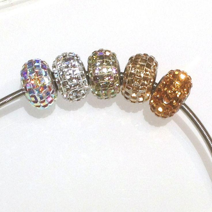 Swarovski Becharmed Pavé beads - gold n silver