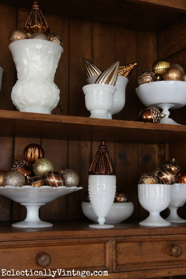 display milk glass collection | Vintage milk glass collection - fun way to display Christmas ornaments ...