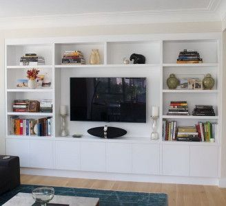 custom white wall units
