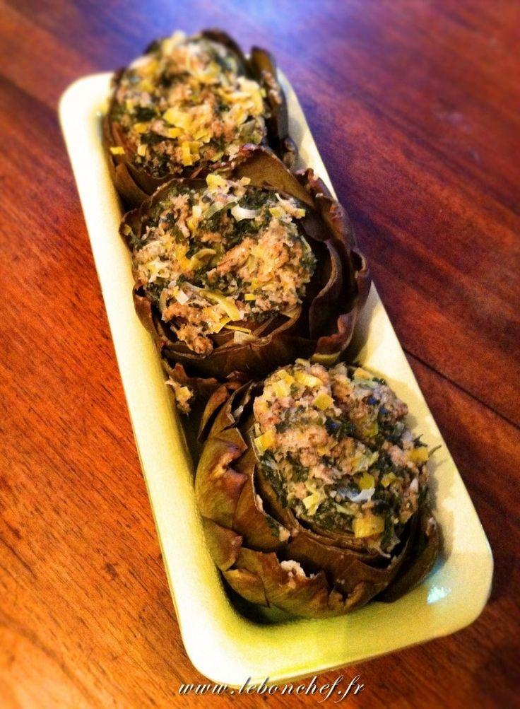 Recette des artichauts farcis à l'italienne Retrouvez cette recette sur www.lebonchef.fr Find the recipe on www.lebonchef.fr