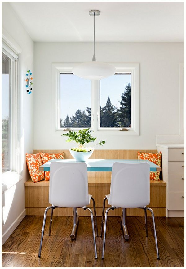 Page thirteen inspired by bright cheery home kitchens pinterest small homes cozy nook - Built in banquette dining sets ...