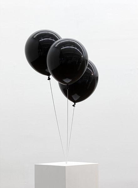 black balloons. [sculpture]
