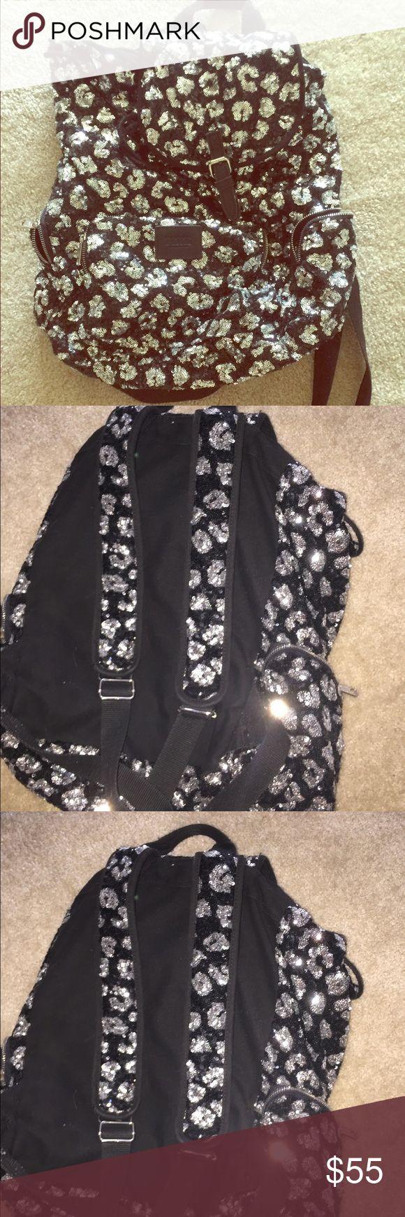 Victoria's Secret pink silver blk sequin backpack Like new. Make an offer!! Bundle and save! PINK Victoria's Secret Bags Backpacks
