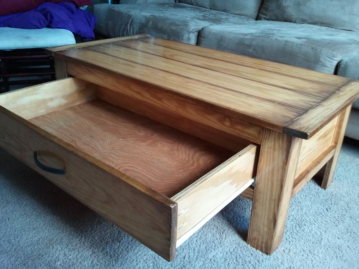 Coffee Table With Drawers Plans