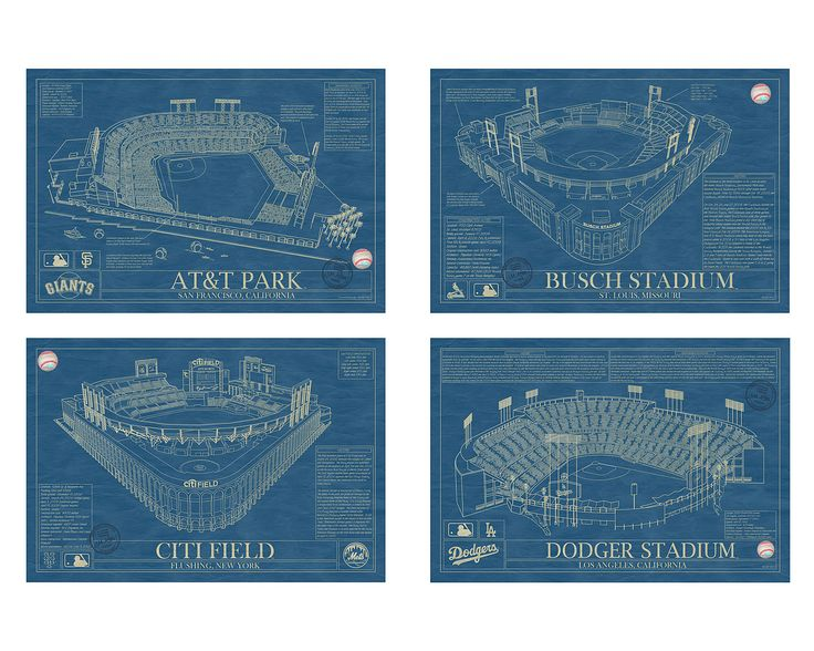 BALLPARK BLUEPRINTS | Baseball Wall Art, Yankee Stadium, AT&T Park, Ebbets Field, Busch | UncommonGoods