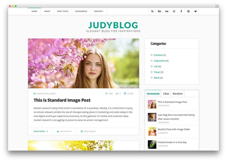 judyblog clean unconventional writer theme
