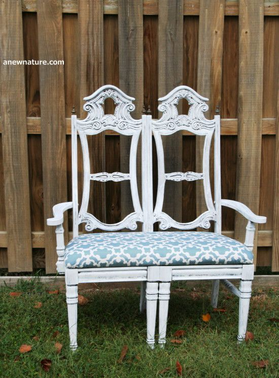 Shabby chic bench seat made from two old dining chairs! Upcycle by Anew Nature. St. Louis based furniture business.